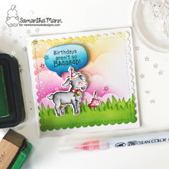 Goat Birthday card by Samantha Mann | Bleat Stamp Set, Land Borders Die Set, Clouds Stencil, Speech Bubbles Die Set and Frames Squared Die Set by Newton's Nook Designs #newtonsnook