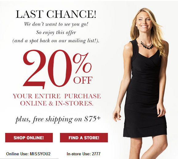 picture about Dress Barn Printable Coupons named Within just-Shop Printable Coupon codes, Personal savings and Bargains! Printable
