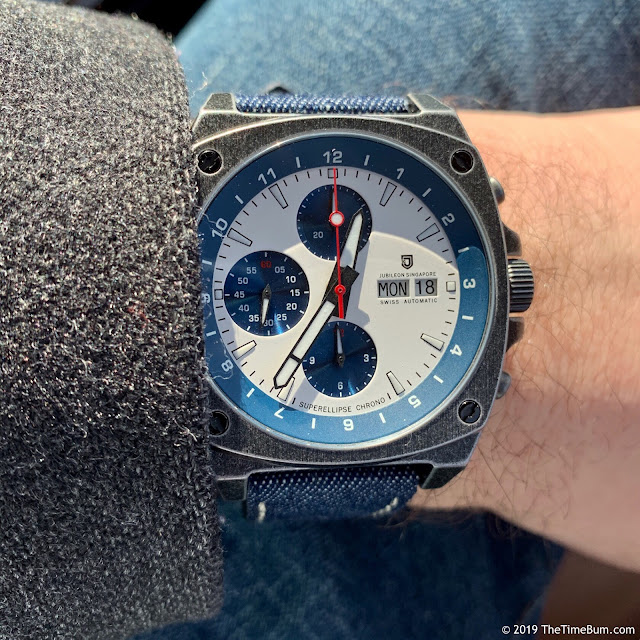Jubileon Superellipse Chronograph Blue on White Vintage Gunmetal wrist shot