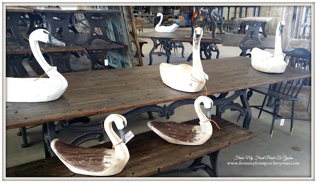 Carved Swans-Paul Michael-Round Top Texas-From My Front Porch To Yours