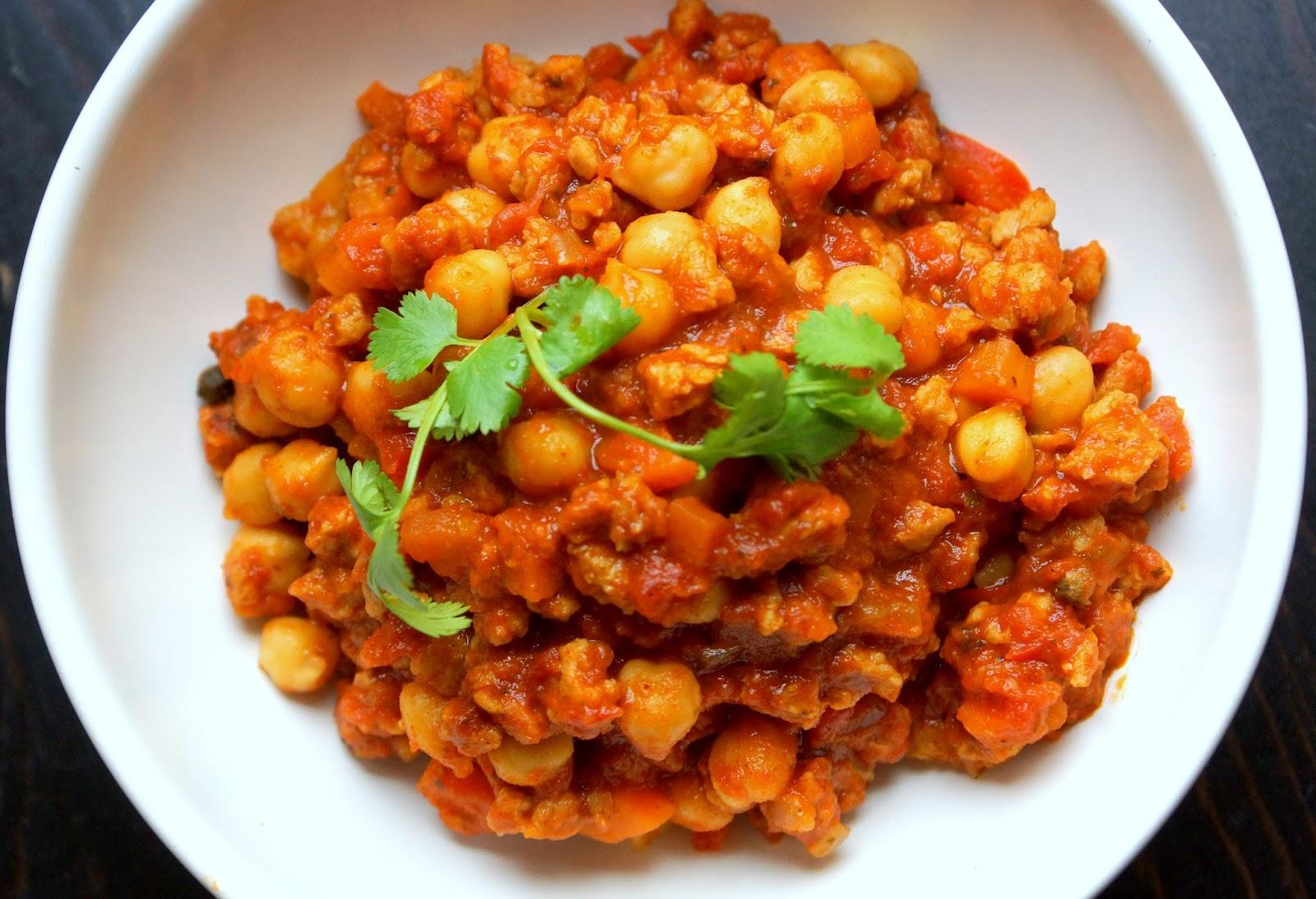 bienvenue chez spicy: chili de pois chiche aux protéines de soja