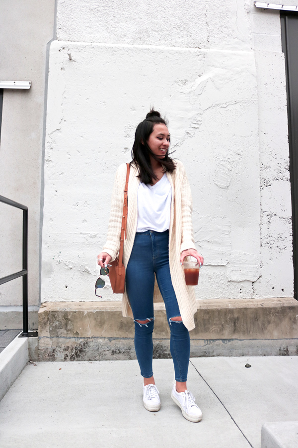 White Cardigan Blue Jeans White Sneakers Casual Style