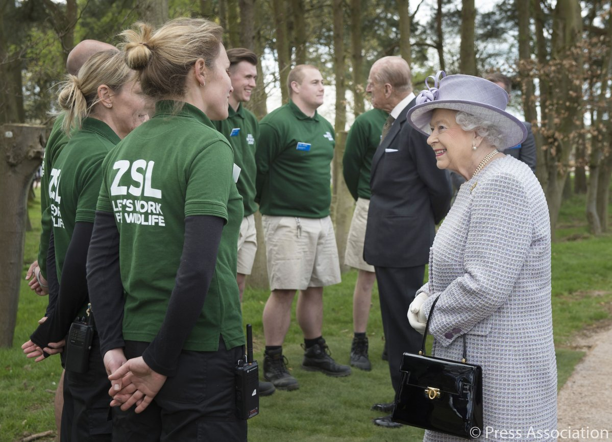 The Queen and The Duke of Edinburgh opening a new centre for elephant care at Whipsnade Zoo in Bedfordshire, near London