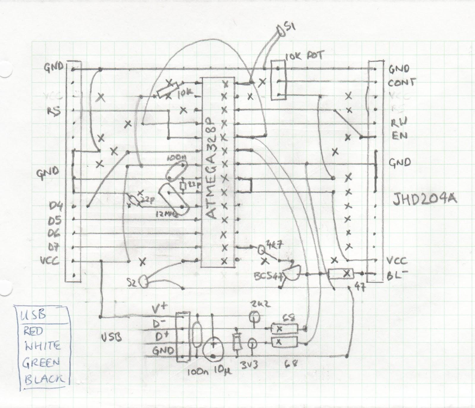 arduino lcd twitter display circuit