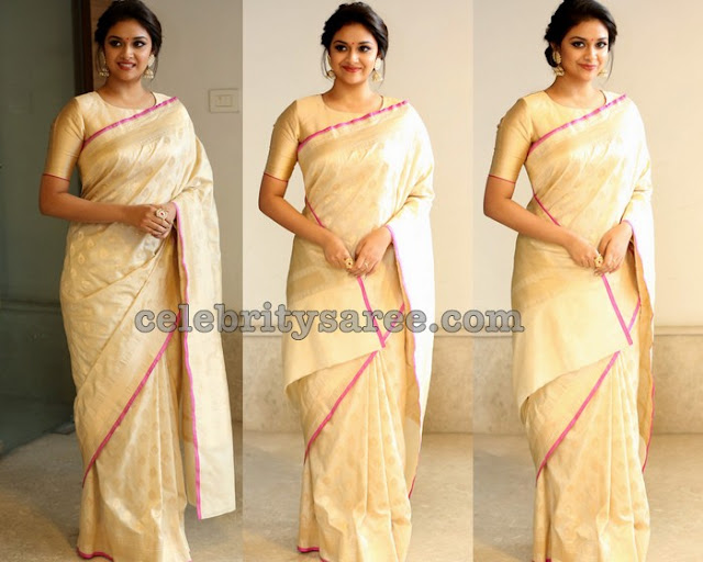 Keerthi Suresh in Off White Saree
