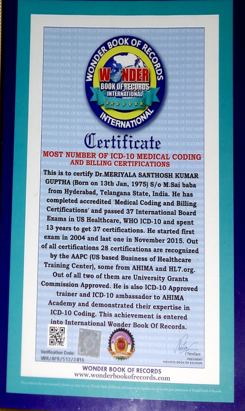 World record in medical coding dr guptha medesun medical coding he is also icd 10 approved trainer and icd 10 ambassador to ahima academy and demonstrated their expertise in icd 10 coding 1betcityfo Gallery