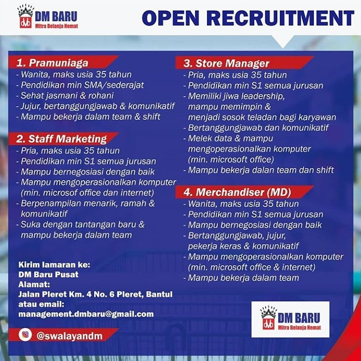 Lowongan Kerja Pramuniaga Staff Marketing Store Manager Merchandiser Di Dm Baru Bantul Yogyakarta Bursa Lowongan Kerja