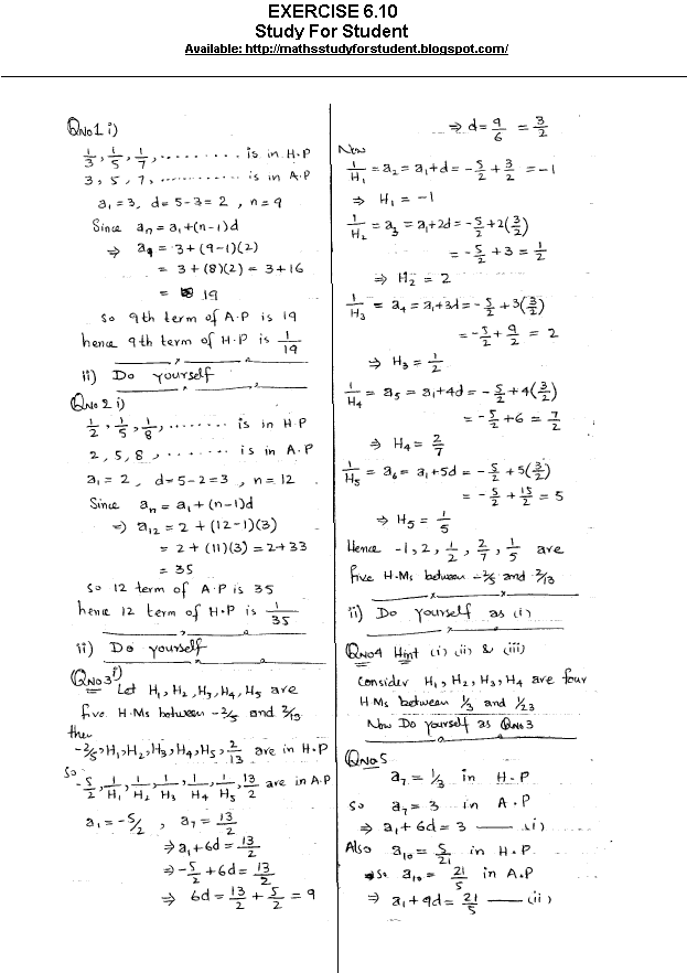 Maths Study For Student: SOLUTION CHAPTER NO 6