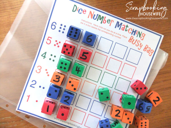 Dice Number Matching Game Busy Bag for Preschoolers