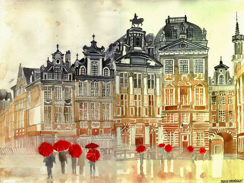 15-Market-in-Brussels-Maja-Wronska-Travels-Architecture-Paintings-www-designstack-co