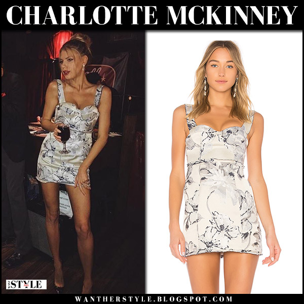Charlotte McKinney in white floral print mini dress lpa 550 party outfit november 4 2017