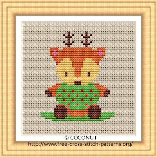 BABY REINDEER, FREE AND EASY PRINTABLE CROSS STITCH PATTERN