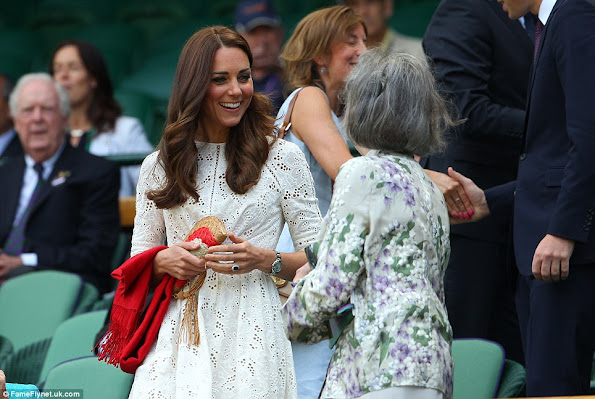 Catherine, Duchess of Cambridge and Prince William attend day nine of the Wimbledon Lawn Tennis Championships at Wimbledon in London
