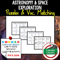 Astronomy, Space Exploration, Earth Science Review Puzzles BUNDLE, Interactive Digital Notebook, Google Link, or PRINT Version, Test Prep, Unit Review, Vocabulary Activity, Earth Science Puzzles, Vocabulary, Test Prep, Unit Review