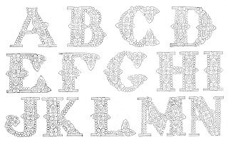font letters victorian design collage sheet digital clipart download
