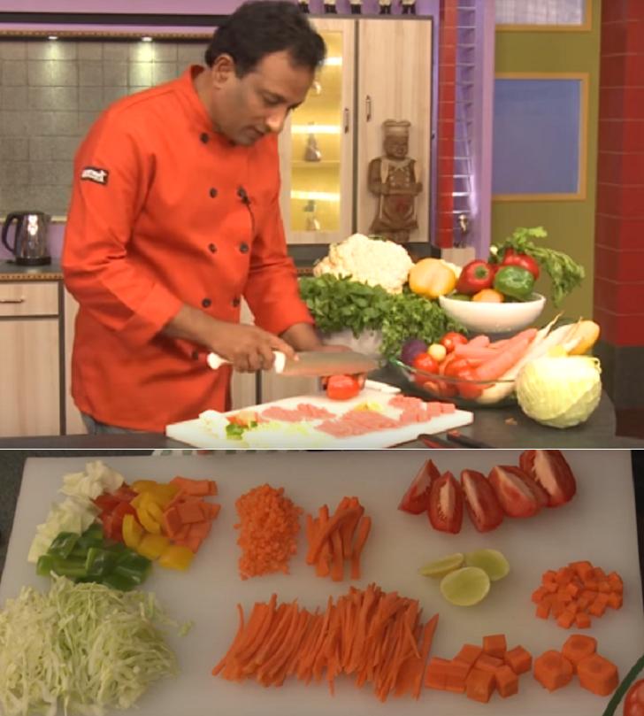 Well-chopped veggies