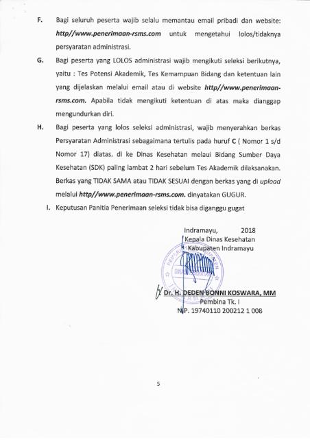 Penerimaan Pegawai Tidak Tetap Dinas Kesehatan Kabupaten Indramayu untuk RSMS