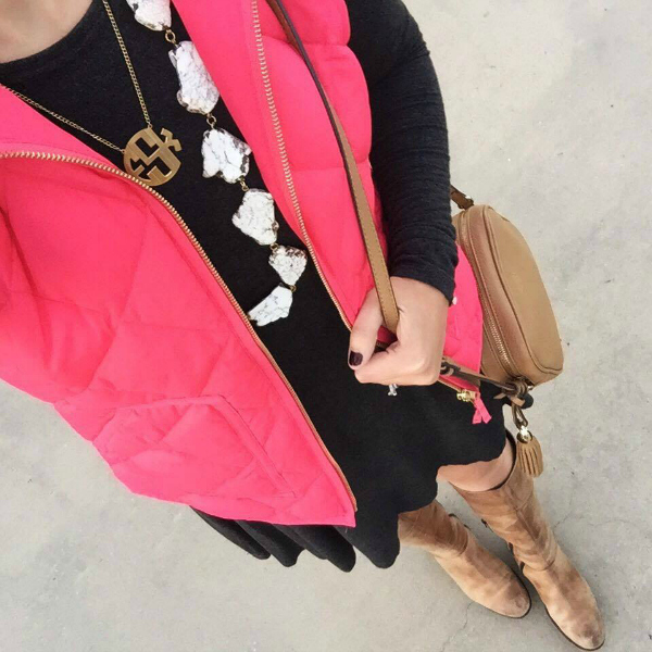 monogram necklace, puffer vest