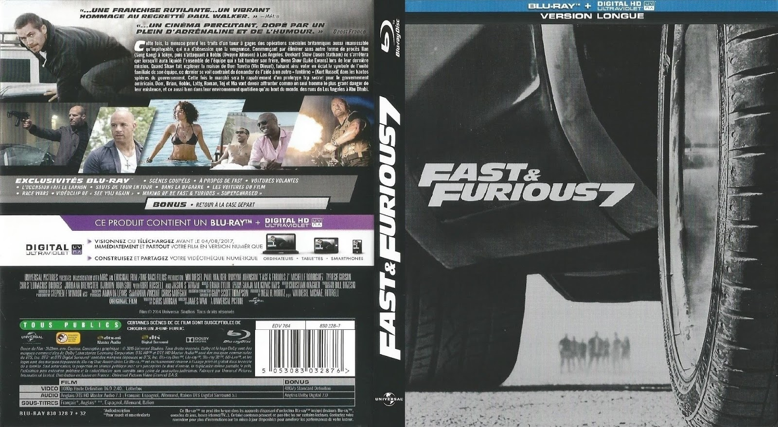 blu ray jaquettes blu ray fast furious 7. Black Bedroom Furniture Sets. Home Design Ideas