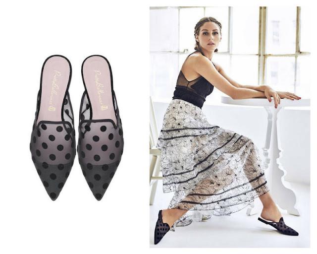 zapatos bailarinas mules negras estampado topos con material transparente