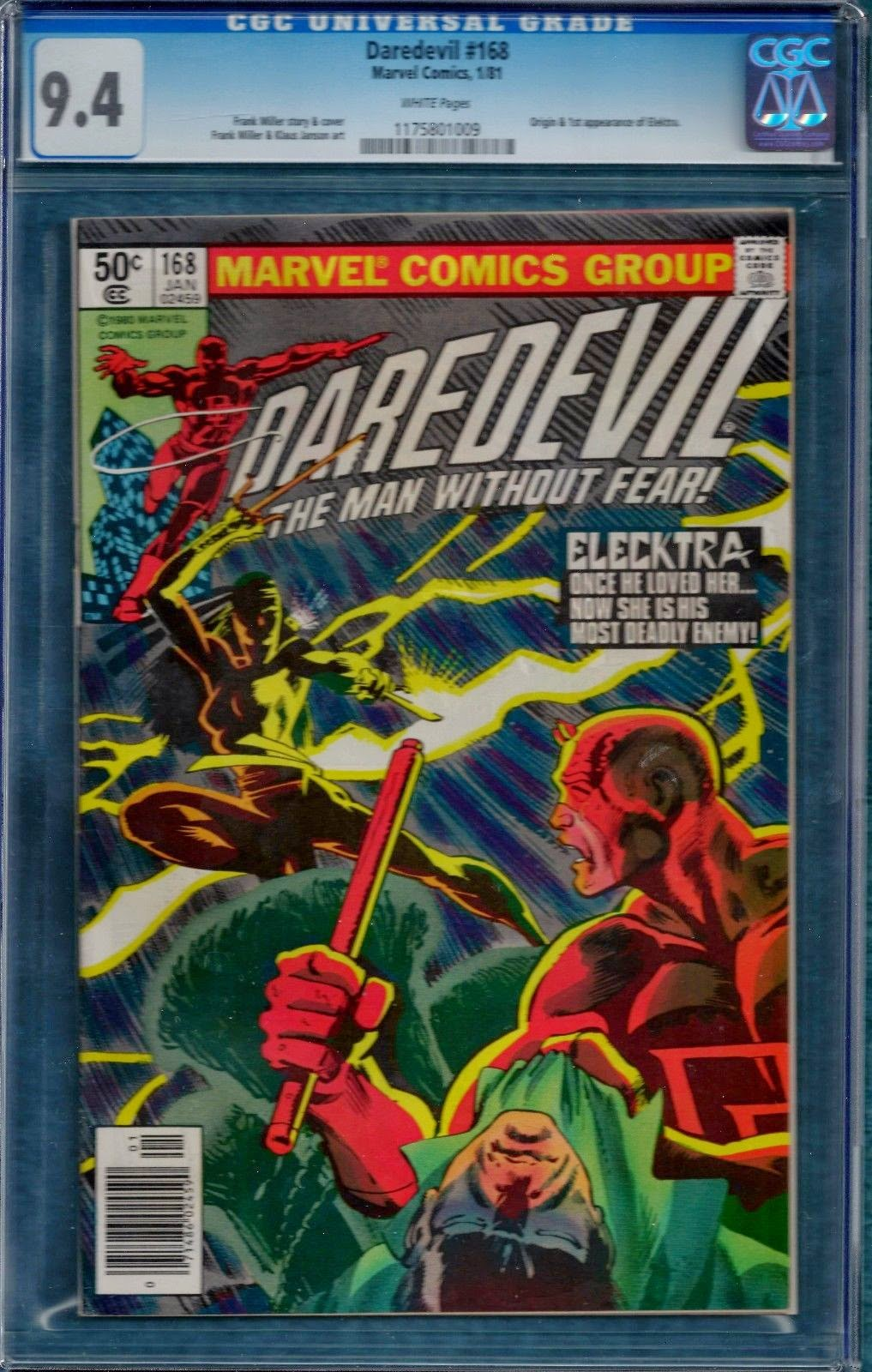 http://www.totalcomicmayhem.com/2014/10/daredevil-168-cgc-94-first-elektra.html