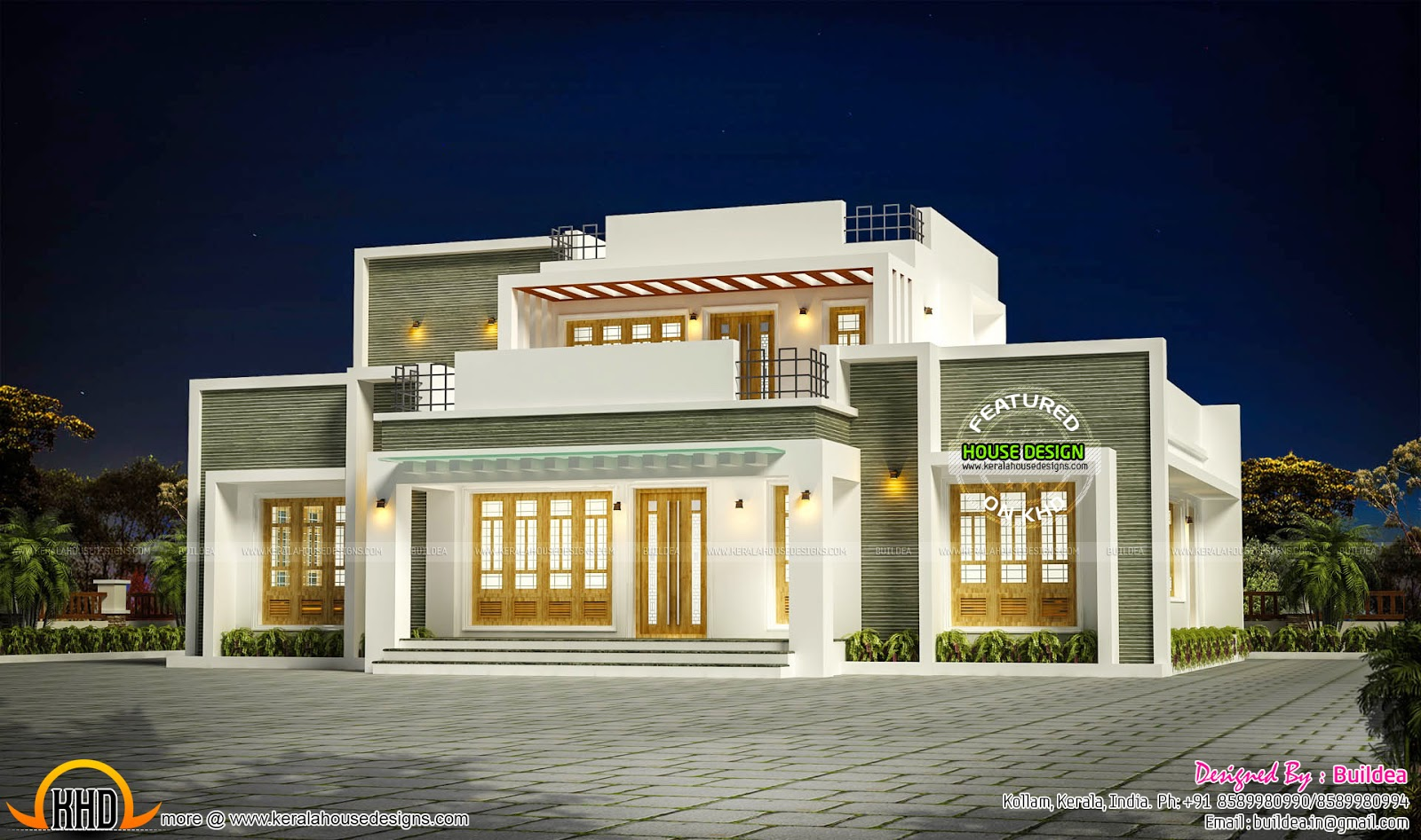 2148 sq ft flat roof house in kollam kerala kerala home design and floor plans. Black Bedroom Furniture Sets. Home Design Ideas
