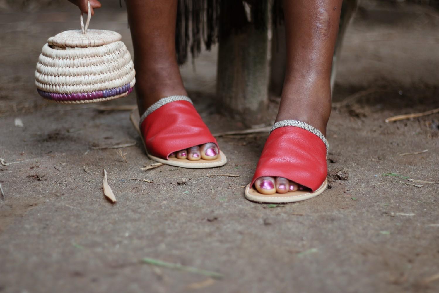 handmade Nigerian slipper and raffia bag