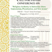 """Call for Papers Conference on """"Religious Authority in Indonesian Islam: Contestation, Pluralization, and New Actors"""""""