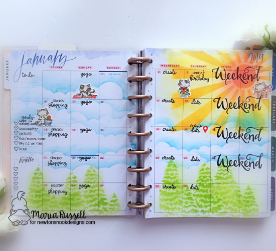 January Planner page with cats by Maria Russell | It's a Plan and Newton Makes Plans Stamp Sets, Evergreens and Sunscape Stencil and Sky Borders Die Set by Newton's Nook Designs #newtonsnook #handmade