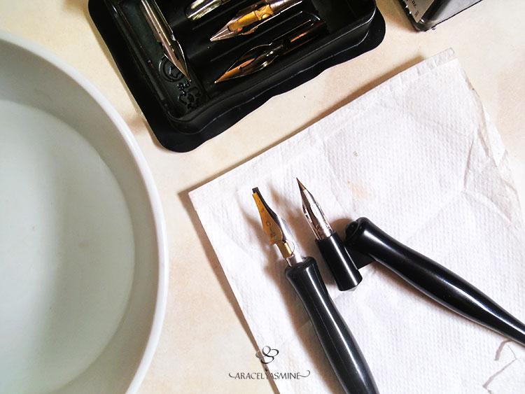 como debo cuidar las plumillas caligráficas después de usarlas