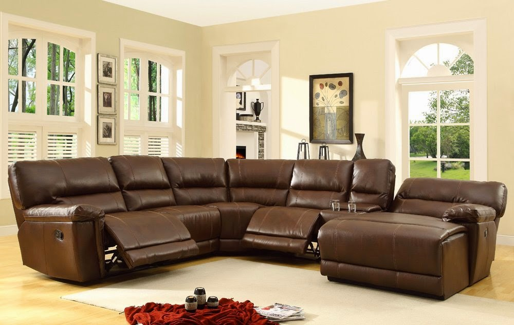 Warm Brown Sectional Reclining Sofas Leather : theater sectional sofas - Sectionals, Sofas & Couches