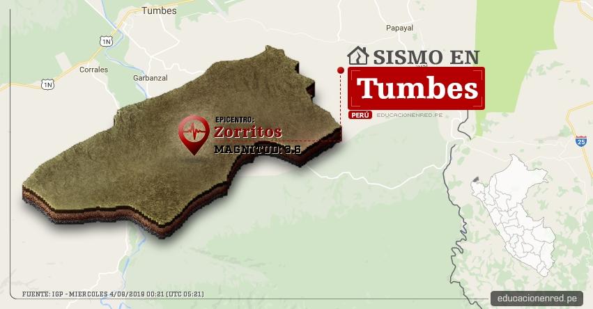 Temblor en Tumbes de Magnitud 3.6 (Hoy Miércoles 4 Septiembre 2019) Sismo - Epicentro - Zorritos - Contralmirante Villar - IGP - www.igp.gob.pe