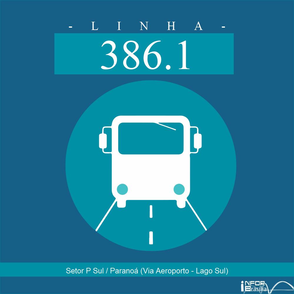 Horário e Itinerário 386.1 - Setor P Sul / Paranoá (Via Aeroporto - Lago Sul)