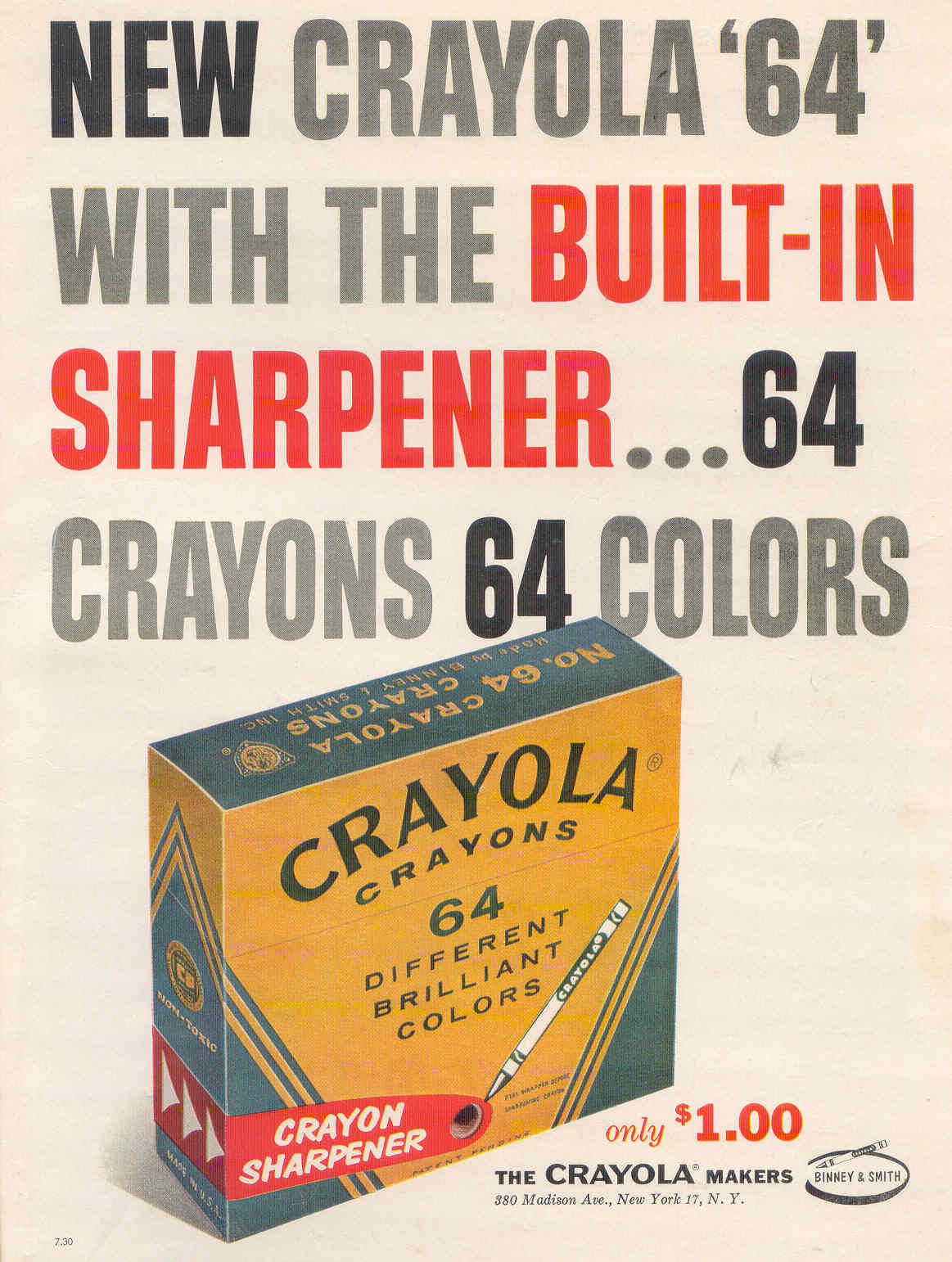 Binney and Smith Crayola Crayons '64' box - 1958