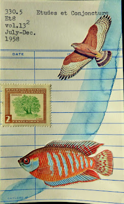 Donkey Leibniz free will paradox hawk eagle bird of prey postage stamp colorful tropical fish library card Fluxus Dada Mail art colllage