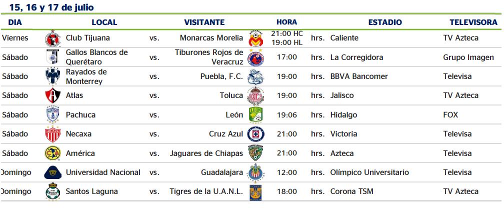 ... Apertura 2016 fechas y horarios oficiales Ligamx - Apuntes de Futbol