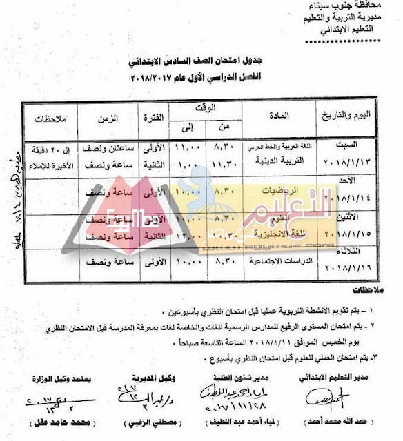 جدول امتحان نصف العام جنوب سيناء 2018 الصف السادس الابتدائي