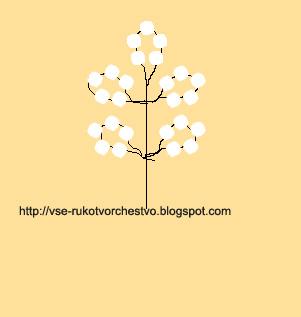 Белая акация из бисера схема плетения цветка