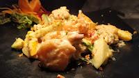 Garnished plate of prawns for prawns butter garlic recipe