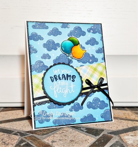 Let dreams take flight by Emily features Cloudy Sky, Uplifting Wishes, Newton's Birthday Balloons by Newton's Nook Designs; #newtonsnook