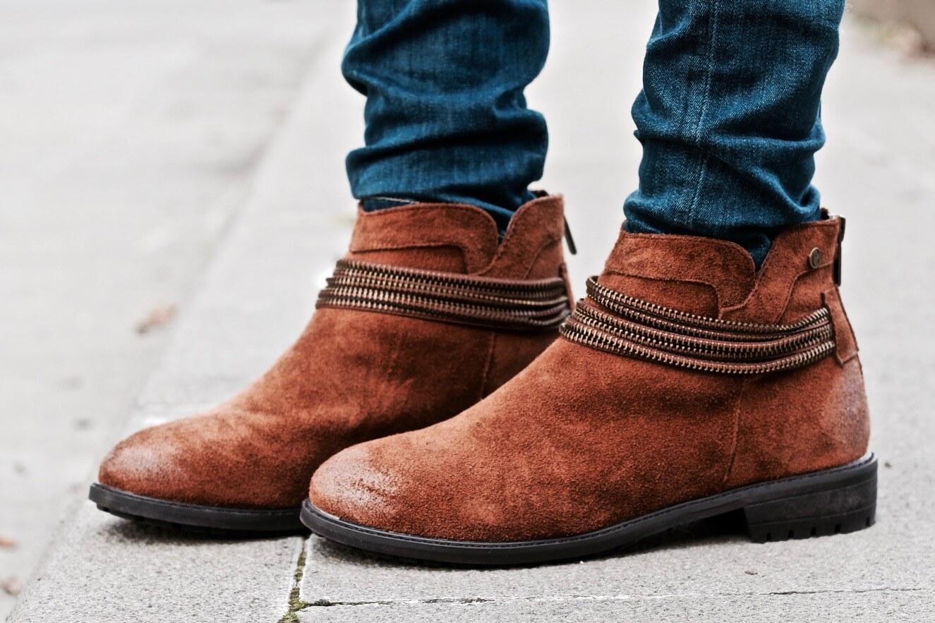 botines de serraje camel