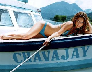 Josie Maran Legs Exposing In Sky Blue Bikini