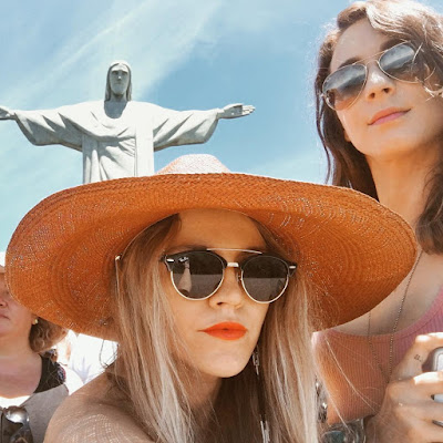 Troian Bellisario & Lulu Brud Zsebe at Cristo Redentor  Christ the Redeemer statue in Rio de Janeiro, Brazil