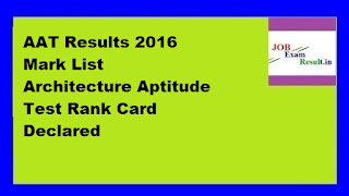 AAT Results 2016 Mark List Architecture Aptitude Test Rank Card Declared