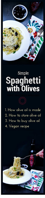 Simple Spaghetti with Olives plus a guide to buying and storing olive oil as well as a look at how olive oil is made in Provence, France. www.tinnedtomatoes.com
