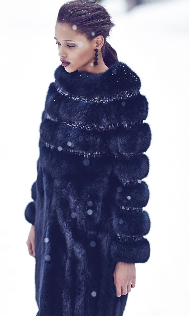 Oscar de la Renta Nafa Embroidered Sable Fur Coat