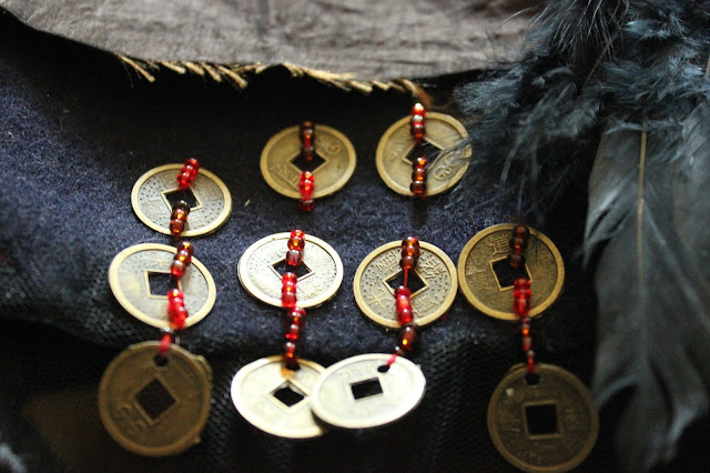 Gothic witch's hat repurposed feng shui coins