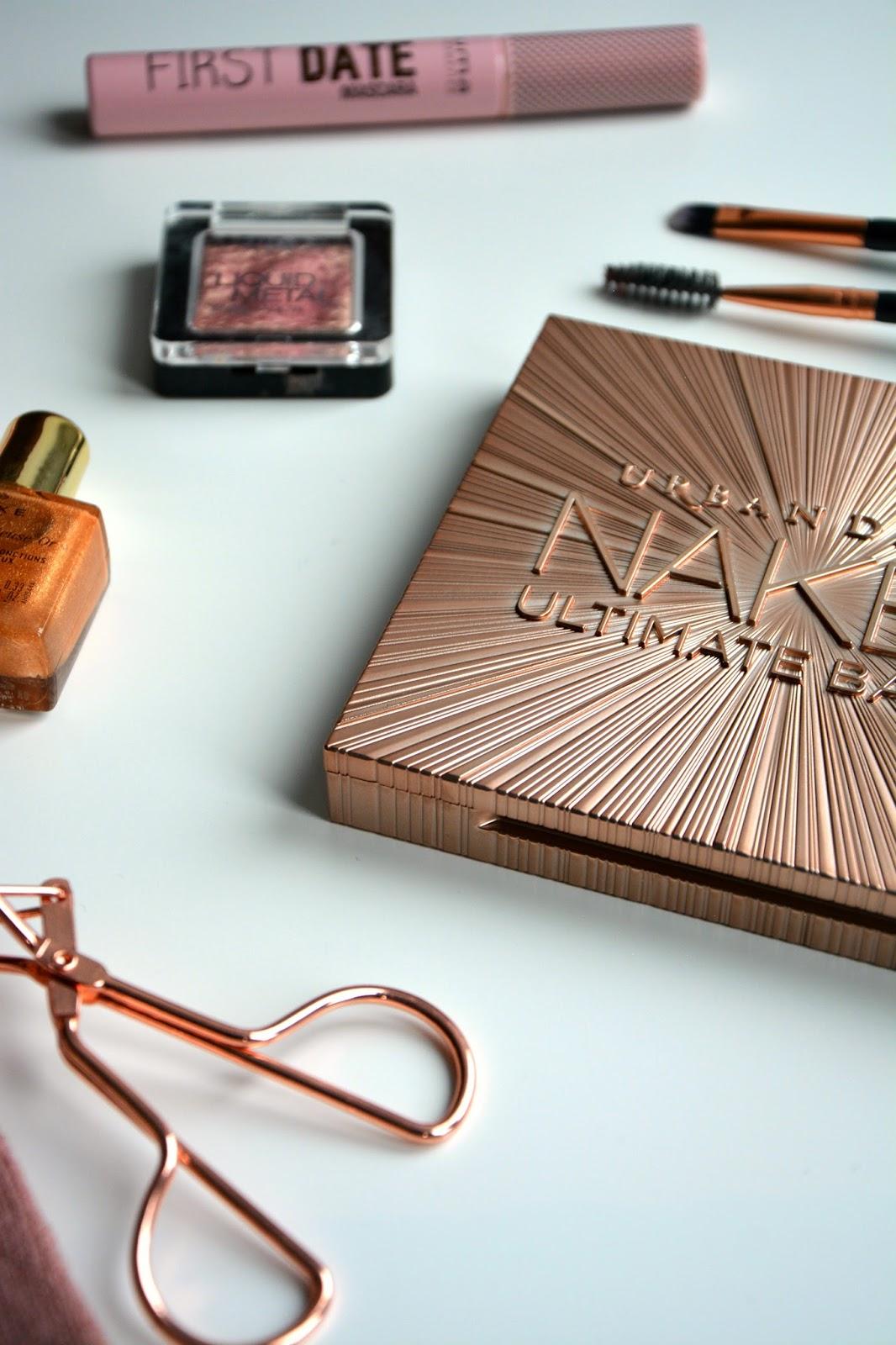Urban Decay Naked Ultimate Basics, UMA First Date Mascara, Nuxe Body Oil, Catrice Metallic Eyeshadow, Primark utensils