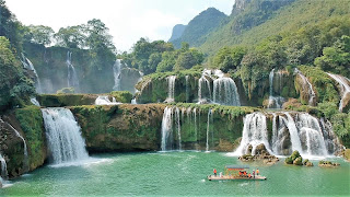 rafts ban gioc waterfall vietnam