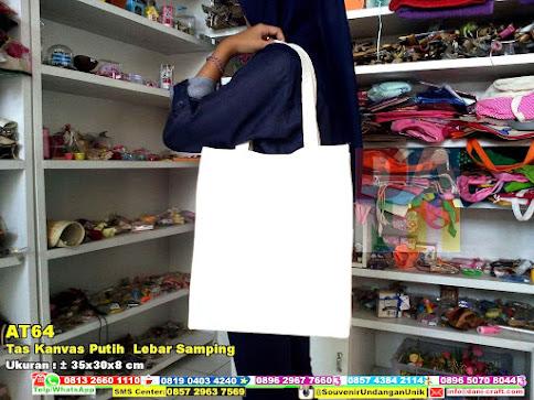 Tas Kanvas Putih  Lebar Samping